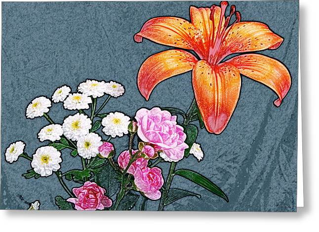 Rose Baby Breath And Lilly Greeting Card by Michael Peychich