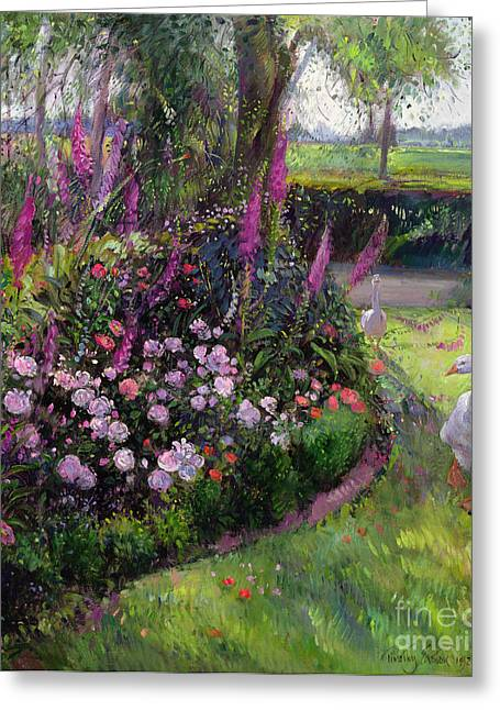 Flower Garden Greeting Cards - Rose Bed and Geese Greeting Card by Timothy Easton