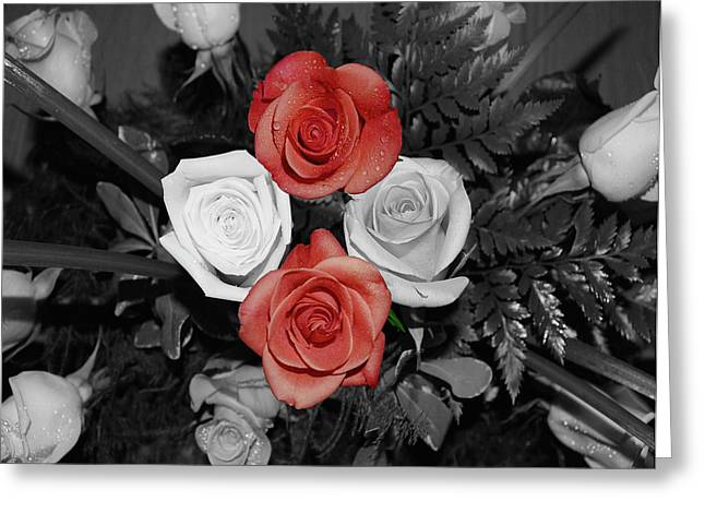 Rose Bouquet Greeting Card by DigiArt Diaries by Vicky B Fuller