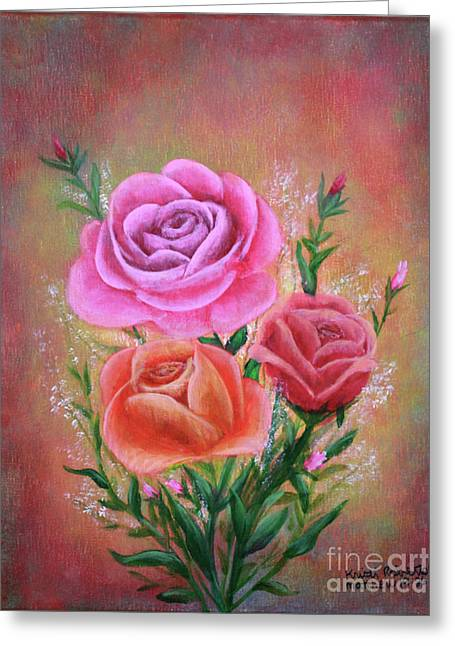 Greeting Card featuring the painting Rose Bouquet by Kristi Roberts