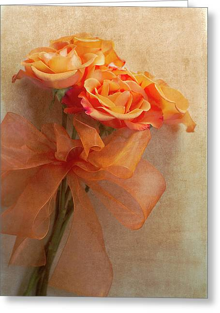Ribbon Photographs Greeting Cards - Rose Bouquet Greeting Card by Rebecca Cozart