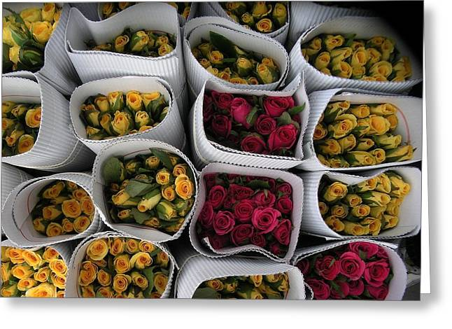 Rose Bunches Greeting Card by Mohammed Nasir