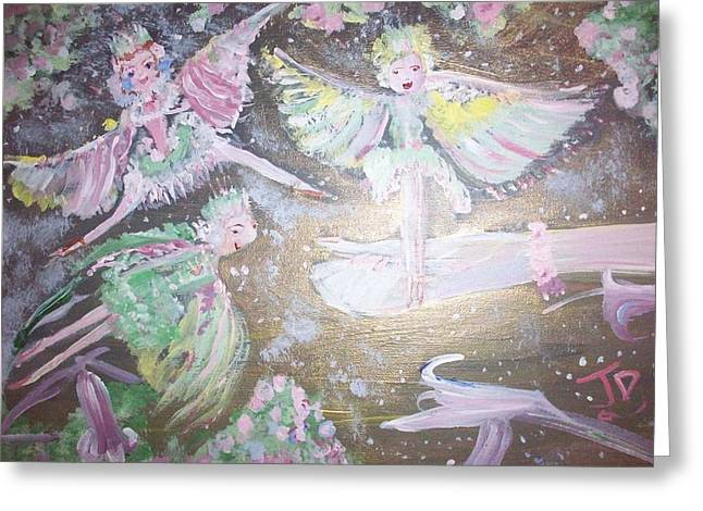 Greeting Card featuring the painting Rose Fairies by Judith Desrosiers