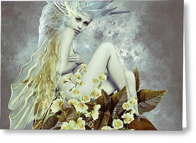 Rose Fairy Greeting Card by Ali Oppy