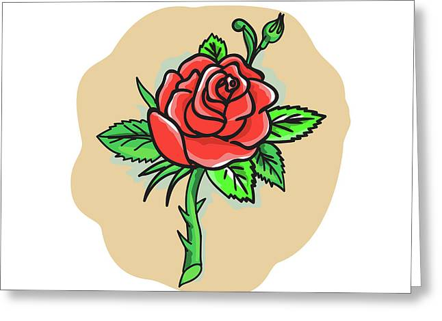 Rose Flower Bud Leaves Thorn Tattoo Greeting Card by Aloysius Patrimonio