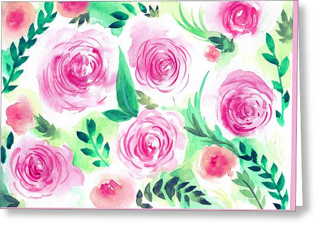 Pink Peach Rose Flower In Watercolor Painting Greeting Card by My Art