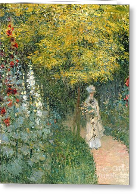 Promenade Greeting Cards - Rose Garden Greeting Card by Claude Monet