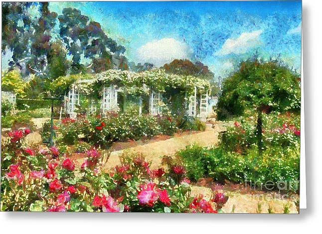 Greeting Card featuring the digital art Rose Garden by Fran Woods
