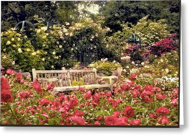 Rose Garden Respite Greeting Card by Jessica Jenney