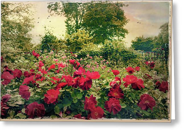 Rose Garden Vintage Greeting Card by Jessica Jenney