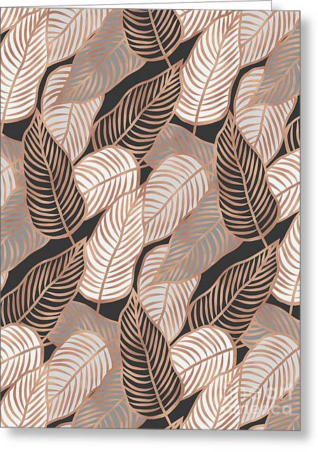 Rose Gold Jungle Leaves Greeting Card