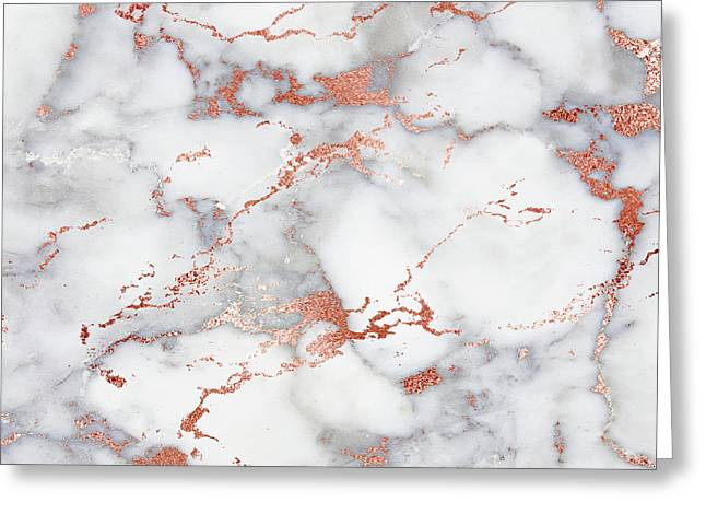 Rose Gold Marble 3 Greeting Card by Suzanne Carter