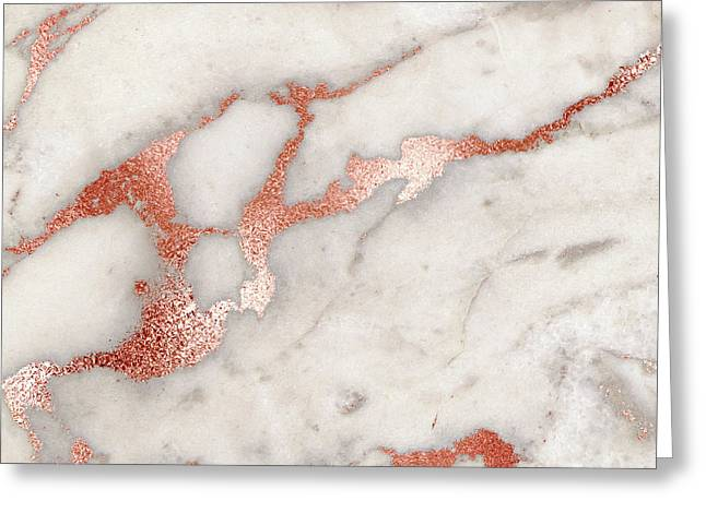 Rose Gold Marble 5 Greeting Card by Suzanne Carter