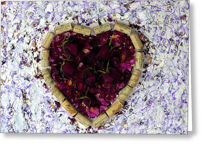 Rose Heart Cork Collage Greeting Card by Marlene Rose Besso