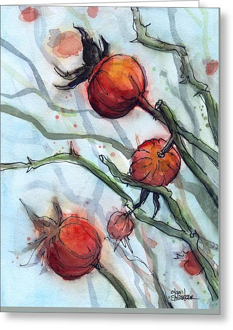 Rose Hips Abstract  Greeting Card by Olga Shvartsur