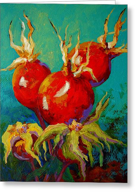 Rose Hips Greeting Card by Marion Rose