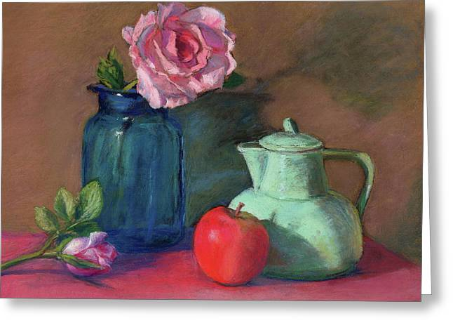 Rose In Blue Jar Greeting Card