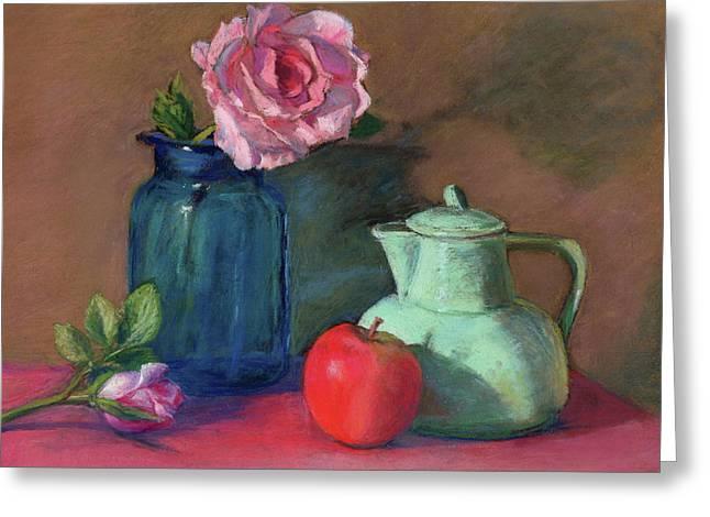 Rose In Blue Jar Greeting Card by Vikki Bouffard
