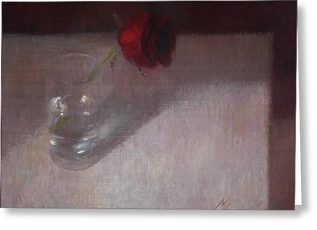 Rose In Glass Greeting Card