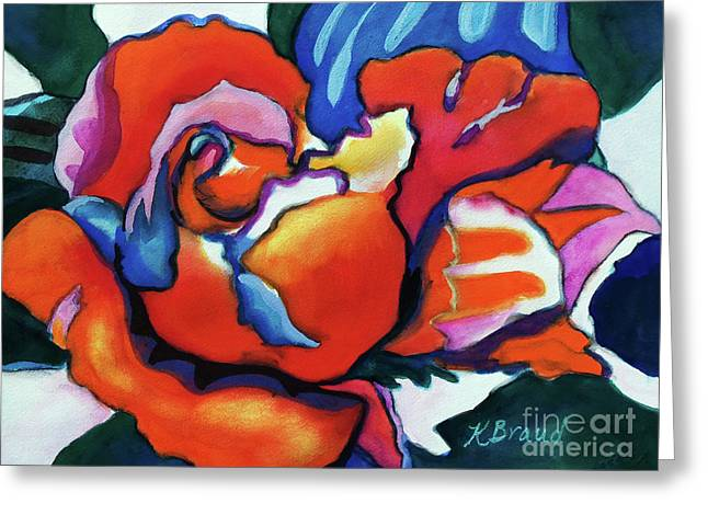 Greeting Card featuring the painting Rose In Outline by Kathy Braud