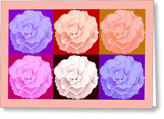 Rose In Six Variations Greeting Card by Helena Tiainen