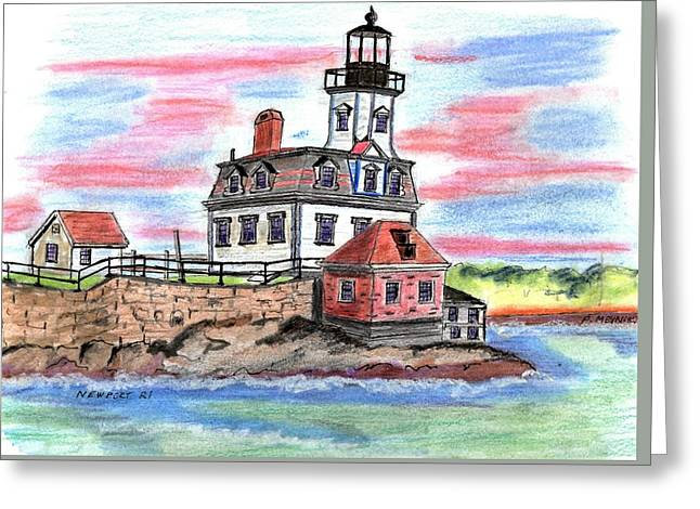 Rose Island Lighthouse Greeting Card by Paul Meinerth