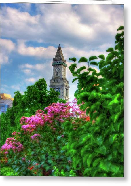 Greeting Card featuring the photograph Rose Kennedy Greenway And Marriott Custom House - Boston by Joann Vitali