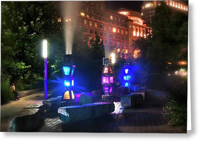 Rose Kennedy Greenway Steam Sculpture Garden At Night Greeting Card