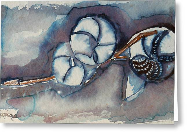 Rose Of Sharon Seed Pods Greeting Card by Diana Davenport