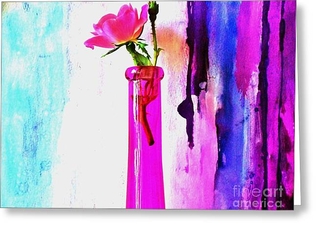 Rose On Abstract Greeting Card by Marsha Heiken