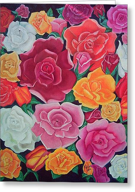 Rose Reunion Greeting Card by Kathern Welsh