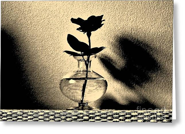 Rose Sillouette Greeting Card by Marsha Heiken
