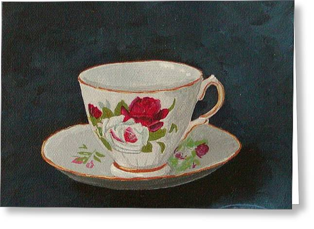 Rose Teacup Greeting Card by Sharon Steinhaus