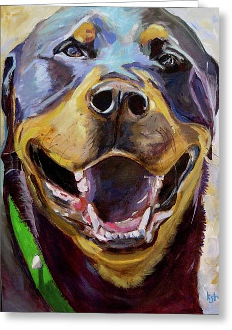 Rose The Rottweiler Greeting Card by Kellie Straw