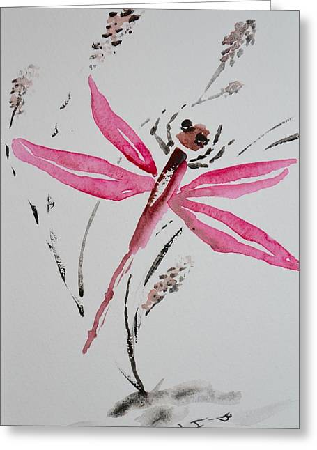 Rose Toned Dragonfly Greeting Card by Beverley Harper Tinsley