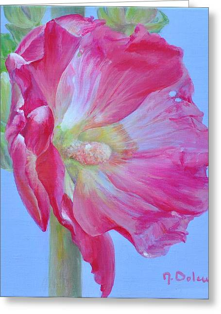 Roses Tremieres Greeting Cards - Rose Tremiere Greeting Card by Muriel Dolemieux