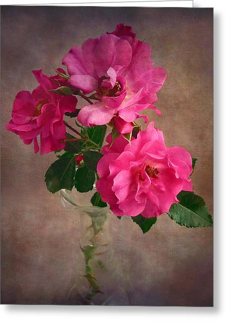 Greeting Card featuring the photograph Rose Trio Still Life by Louise Kumpf