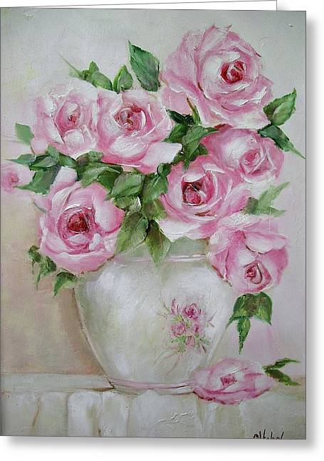 Greeting Card featuring the painting Rose Vase by Chris Hobel
