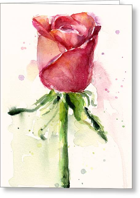 Rose Watercolor Greeting Card by Olga Shvartsur