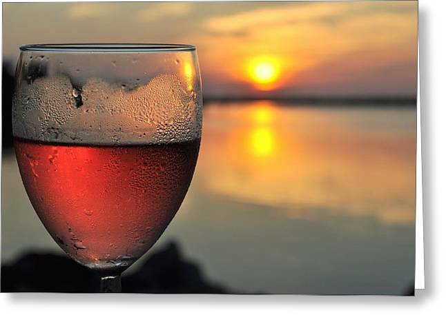 Rose Wine   Key Largo Sunset   Life Is Good Greeting Card by Jonathan Galente