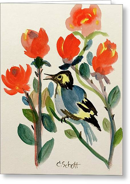 Rose With Blue Bird Greeting Card