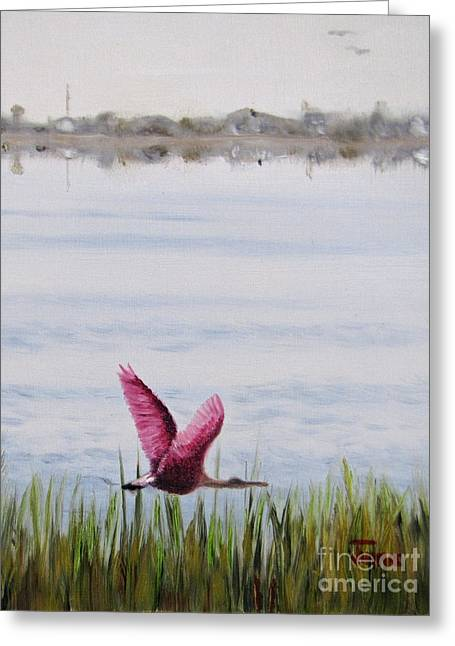 Greeting Card featuring the painting Roseate Spoonbill Flight Over The Bay by Jimmie Bartlett