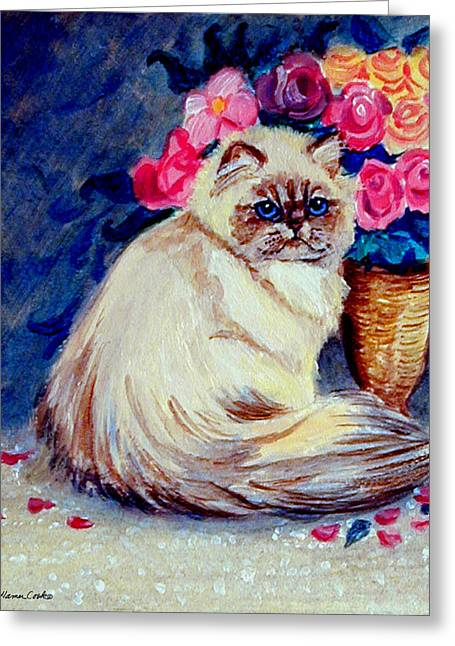 Roses - Himalayan Cat Greeting Card by Lyn Cook