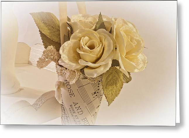 Roses And Butterfly Posy  Greeting Card by Sandra Foster