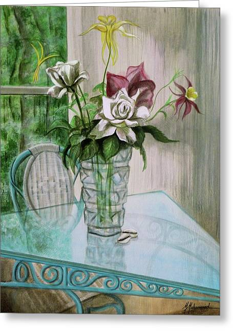 Roses And Columbine Greeting Card by Marcella Muhammad