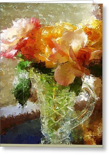 Roses And Crystal Greeting Card by Sherrie Triest