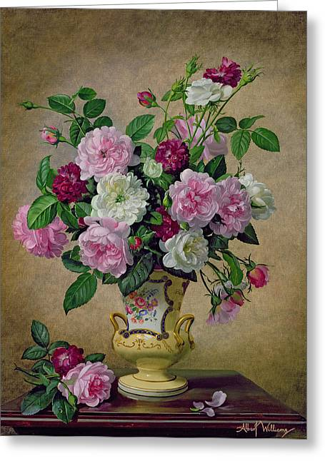 Roses And Dahlias In A Ceramic Vase Greeting Card by Albert Williams