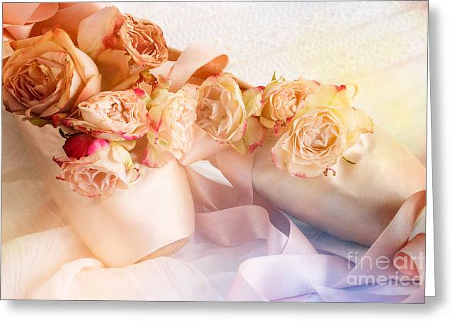 Roses And Dance Shoes Greeting Card by Ann Garrett