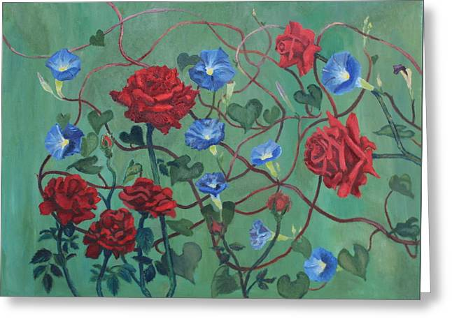 Roses And Morning Glories Greeting Card