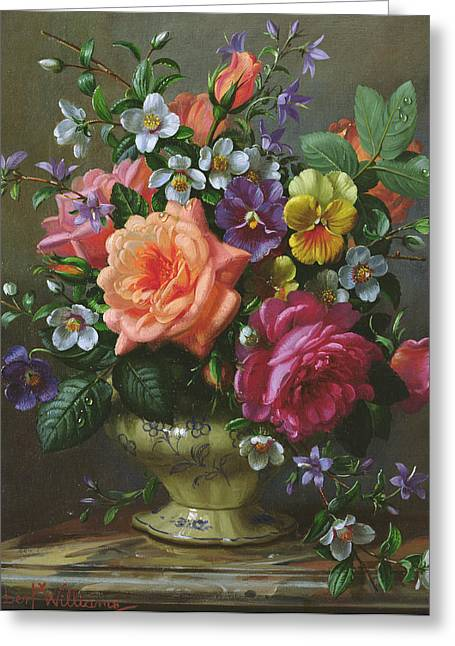 Roses And Pansies Greeting Card by Albert Williams